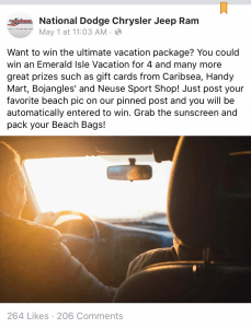 Facebook Promotional Contest - Viamark New Bern